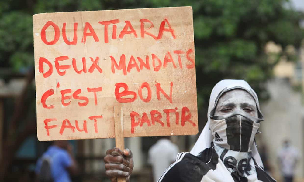 Ouattara's decision to run for a third term has been met with protests. (Diom Celest/EPA)