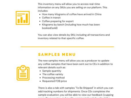 Producer Platform Update: Inventory and Samples Menus