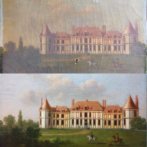 Petit tableau du Château de la Rivière restauré par Hyacinthe de Jessey
