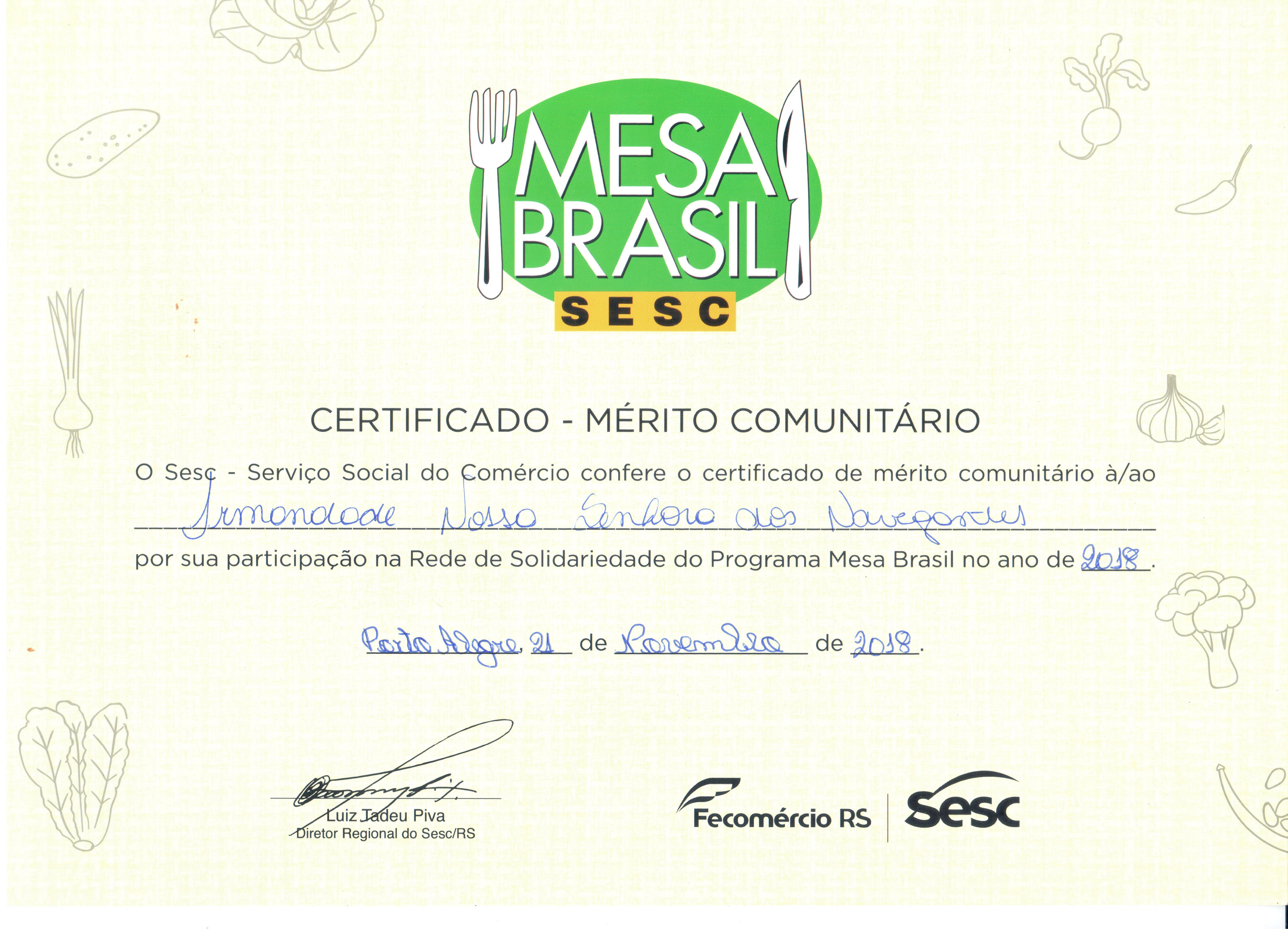 certificado Mesa Brasil