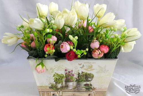 Flores Artificiales Con Macetas Incluidas Varios Modelos