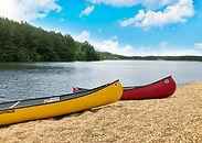 Canoes at Timber Lodge Ranch in Arkansas.