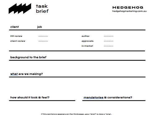 Task Brief Template
