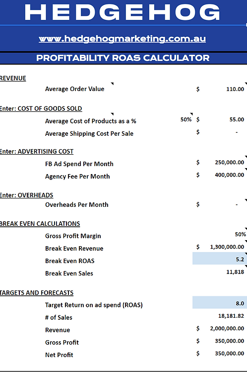 Return on Ad Spend (ROAS) Calculator