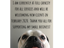 I am fully booked for all services.  Please check back in the New Year for openings.