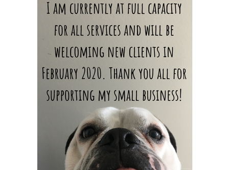 I am fully booked for all services. Please check back in the New Yearfor openings.