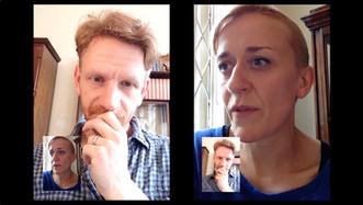 Two actors reciting submissions to the False Memory Archive from memory via FaceTime