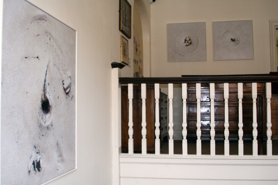 Damage caused to the walls of The Freud Museum London by previous art exhibitions, 2014.