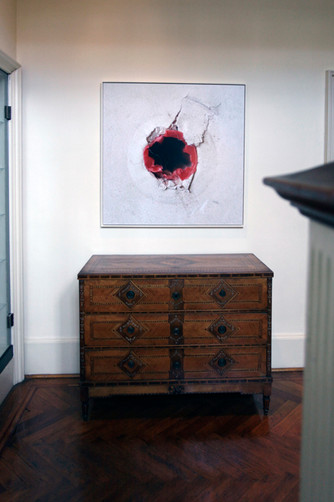 Damage caused to the walls of The Freud Museum London by previous art exhibitions. 2013