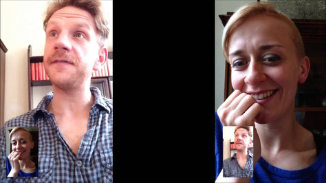Two actors reciting submissions to the False Memory Archive from memoryvia FaceTime, 2014.