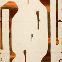 """Three String Etching, Ombra, ed. 29/50 Color spitbite aquatint, soapground, aquatint, and softground etching with chine collé, string & handstamping 31.75 x 25.5"""" CF 1014"""