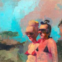 "Florida Craigslist Orgy Couple Acrylic on panel 36 x 48"" GE 1047"