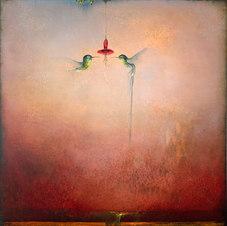 """Hummingbird IX Oil on canvas 48 x 48"""" JL 1196"""