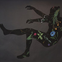 """Fall/Levitate No. 2, from Pool Series Pastel on black paper 59 x 80"""""""