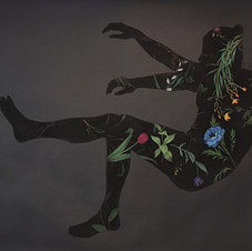 Fall/Levitate No. 2, from Pool Series Pastel on black paper 59 x 80""