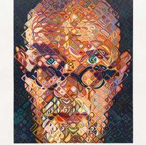 """Self-Portrait 15/70 84 color woodcut on paper 47.25 x 37"""" CHC 1060"""