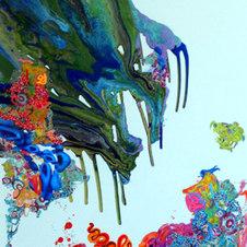 "Liquid Landscape #628-091610 Mixed media on canvas 72 x 48"" KB 1003"