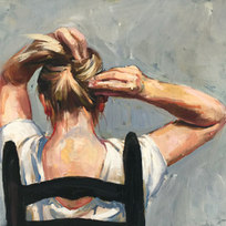"""Putting Up Hair (Gray) Oil on canvas 19 x 27"""""""