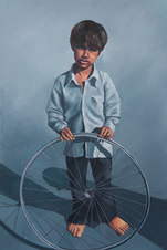 """Boy with Wheel Oil on paper 63.5 x 43.5"""""""