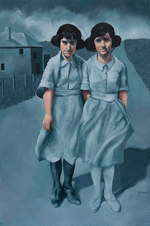 """Sisters Oil on paper 63.5 x 43.5"""""""