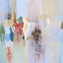 "Bloomstone (Prufrock IV) Mixed media on canvas 48 x 48"" MIB 1042"
