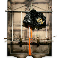 """What Have We Lost: The Silence, The Time, A Leisure Mixed media and found objects 44 x 32 x 10"""" MIM 1097"""