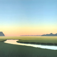 "Pale Dawn, Tidal Pool Oil on canvas 50 x 28"" JC 1090"