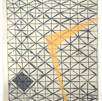 Liminal Icon (Barkcloth I) Mixed media on paper 16.75 x 17.75 in. MIB 1034