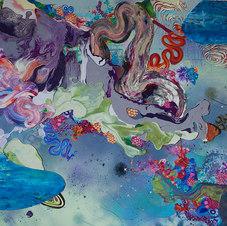 "Makes Me Think, God's a Woman Mixed media on canvas 48 x 60""  KB 1018"