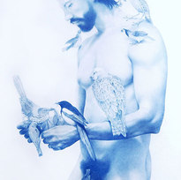 "Feeding 5, from Wild Man Series Blue pencil on mylar 48 x 33.5"" ZL 1003"