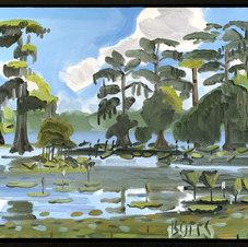 """Louisiana Swamp, Near Cecilia Oil on canvas 24 x 32"""" GBT 1003"""