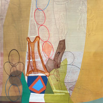 """Tower to the House Mixed media on paper 15 x 13"""" MIB 1049"""