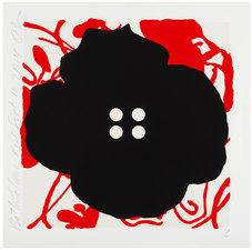 """Button Flowers, 2014, ed. of 35 Color silkscreen with enamel inks and flocking on 2-ply museum board. 30 x 30"""" (each)"""