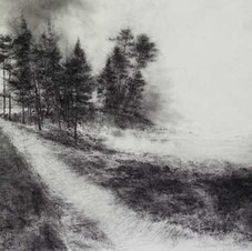 """Source Powdered charcoal on paper 26 x 40.5"""""""