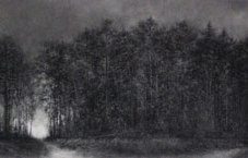 """Stand Powdered charcoal on paper 47 x 24.5"""""""