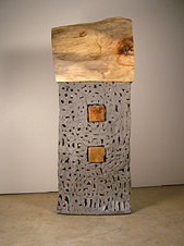 "Baltimore House Salt glazed stoneware & pecan 62 x 25 x 9"""