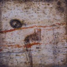 """Impermanence XXIV Photo encaustic 12 x 12"""" JL 1241"""