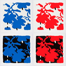"""Color silkscreen with over-printed flocking on Rising, 2-ply museum board Portfolio of 8 32 x 32"""" each"""
