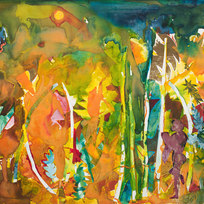 """Mecklenburg Autumn: September - Sky and Meadow Collage and oil on fiberboard 34 x 46"""""""