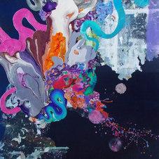 """Walking on Moon Mixed media on canvas 48 x 36""""  KB 1038"""