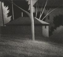 """Backyards from Springfield, O., Ed. III/XII AP Mezzotint 7 x 7.875"""""""