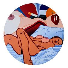 "Pop Tart Tondo 01 (Wesselmann) Acrylic on canvas 48"" diameter KTK 1125"