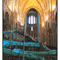"Reimes Cathedral Waterslide Acrylic on panel 20 x 26 x 2.5"" BH 1353"