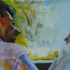 Life is Good Oil on canvas 11 x 22""