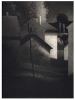 "Houses & Sheds, 4/50 Mezzotint 11.5 x 9.5"""