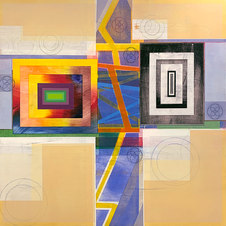 Organic Geometry (Newgrange Rising) Mixed media on canvas mounted to panel 48 x 48 in. MIB 1068