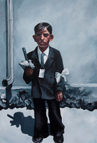 "Communion Boy Oil on paper 63.5 x 43.5"""