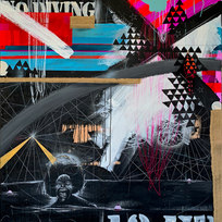 """Maggot Brain: Complimentary Towels Mixed media and found objects on panel 72 x 60"""" MIM 1038"""