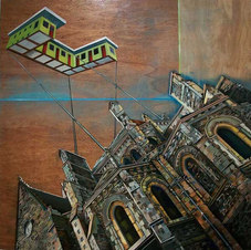 "Roadside Motel Mayenne Cathedral Acrylic and polyurethane on reclaimed wood 37.5 x 37.5"""