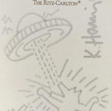 "Untitled (UFO; The Ritz Carlton), Silver tone marker on letterhead, Paper: 6 x 3.5"""